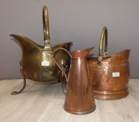Two coal scuttles, brass and copper, one Art Nouveau and a copper jug, tallest 48cm