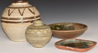 Studio pottery including a large vase with impressed AB monogram, bowl with incised CP to base and