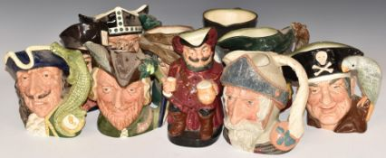 Ten large Royal Doulton character jugs including The Viking, Pied Piper and Mad Hatter