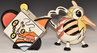 Two Lorna Bailey teapots comprising one Oakdene and one in the form of a stylised bird, tallest