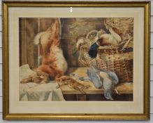 M. Jackson watercolour still life study of game on a wooden bench, signed lower right, 50 x 69cm
