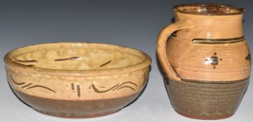 Winchcombe Pottery bowl and a jug by Sydney Tustin, H17.5cm