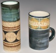 Troika sleeve vase and a mug with printed and signed marks to bases, tallest 15cm