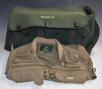 Wychwood fishing bag with fitted interior and an Orvis fishing waistcoat, size L