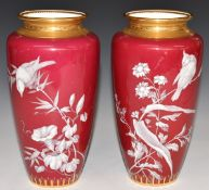 Pair of Minton pate sur pate vases decorated with birds and flowers, H21cm