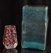 Whitefriars textured bark coffin vase in red together with a Whitefriars style vase in kingfisher