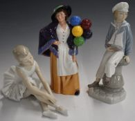Royal Doulton Balloon Lady andLladro and Nao figures, tallest 22cm
