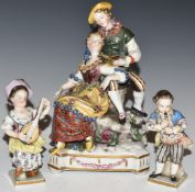 Continental porcelain figures including sweethearts with bird's nest, blue Vienna mark verso and two
