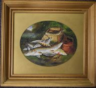 Henry Leonidas Rolfe (1847-1981) oil on board, the day's catch with creel and net including pike,