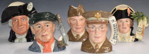 FivelargeRoyal Doulton character jugs comprising Glenn Miller, General Eisenhower, Mark Twain,