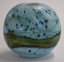 Gozo glass striated azure blue vase, signed to base, probably by Michael Harris, 9.5cm tall.