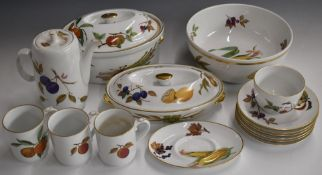 Approximately seventy five pieces of Royal Worcester Evesham pattern dinner and tea ware including