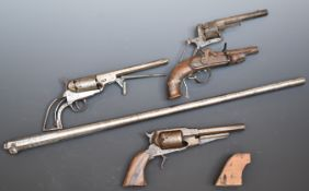 Three various revolvers comprising one Colt style, one Remington .44 revolver and one pinfire