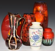 Retro pottery vases including Poole, Alan Clarke and West German examples, tallest 27cm