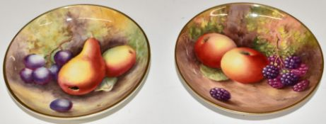 TwoRoyal Worcester painted fruit pin dishes, one signed H Ayrton (1934) the other B Cox, diameter