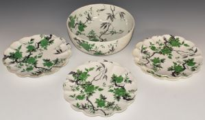 Shelley salad or dessert set of pedestal bowl and six plates decorated with peonies, H10, diameter