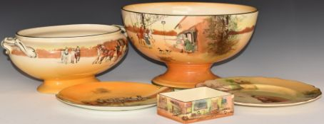 Royal Doulton Seriesware pedestal punch bowl, oval pedestal twin handled bowl, plates and box,