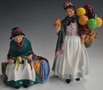 Two Royal Doulton character figurines Biddy Penny Farthing and Silks and Ribbons, tallest 22cm