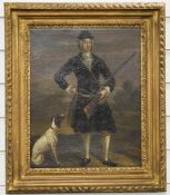 19thC oil on canvas of a man with shotgun and pointer dog, 41 x 32cm