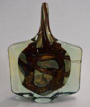Mdina glass axe head vase signed 'Mdina 1980' to the base, 25cm tall.