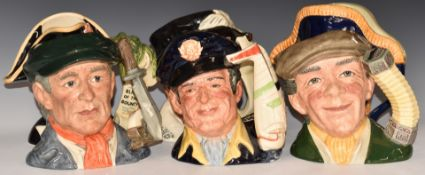 SixlargeRoyal Doulton character jugs including Lord Nelson, Sir Francis Drake, Bligh of the