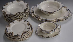 Approximately thirty pieces of Grindley Art Deco dinner ware, six place settingincluding meat