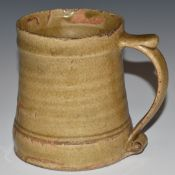 Bernard Leach c1950s St Ives Pottery tankard mug with thumb rest and scrolling handle, with studio