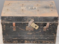 19thC metal trunk with applied Maltese Cross style decoration, W67 x D45 x H43cm