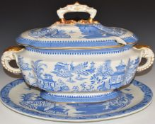 Royal Worcester19thCtureen and underplate with figural elephant handles, H27 x L40cm