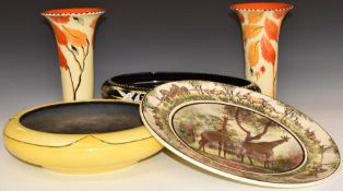 Art Deco and later ceramics and glass including a pair of Burleighware vases, Solian Ware footed