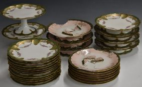 Approximately twenty five pieces of French dessert ware including five tazzas
