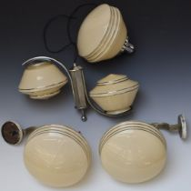 Four vintage / retro light fittings with glass shades, two wall fitting and two ceiling fitting,