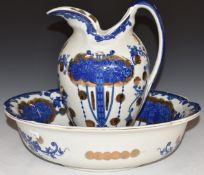 Blue and white jug and bowl with gilt decoration, H28cm