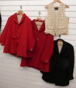 Three hunting jackets/pinks and a waistcoat, various manufacturers including Foxley, Pytchley and