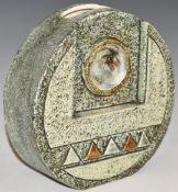 Troika wheel vase with 'Troika Cornwall' and AN monogram to base, H16.5cm