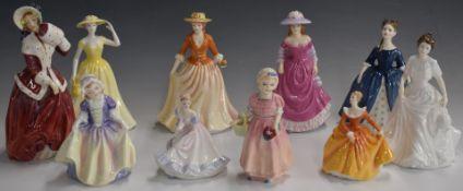 Ten Royal Doulton figurines including Christmas Morn, Fragrance, Tinkle Bell etc, tallest 16cm