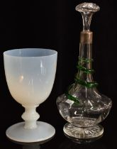 A c1900 decanter with applied glass snake, star cut base and silver collar, London marks rubbed,
