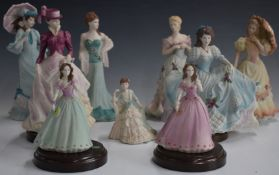 Eleven Coalport / Royal Doulton figurines including Diana, Chiswick Walk, Evening of the Opera,