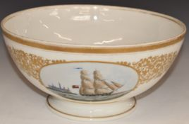 A 19thC continental porcelain pedestal bowl with hand decorated cartouche of a British sailing