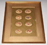 Harry Ayrton (Royal Worcester artist), framed set of eight watercolour studies still life of painted