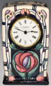 Moorcroft mantel clock decorated in the Mackintosh pattern, dated 95, H16cm
