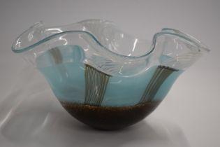 Svaja Studio glass handkerchief centerpiece bowl in the 'Cloak of Neringa' pattern, signed to