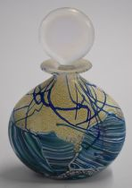 Isle of Wight iridescent glass scent bottle with stopper and sticker to base, 13cm tall.