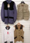Four shooting/ fishing jackets comprising Perazzi Sport Polo jacket with tags (XL), Gelert fishing
