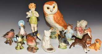 Beswick Beatrix Potter and bird figures, Royal WorcesterWednesday's Child andPekingese, Goss cat