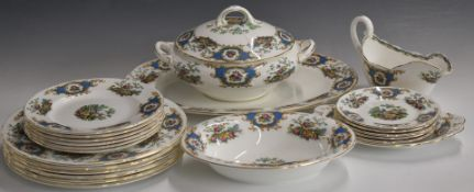 Approximately twenty pieces of Coalport dinner ware decorated in the Broadway Blue pattern