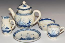 Five pieces of 18thC Caughley miniature / dolls' house tea ware including teapot, tallest 8.5cm
