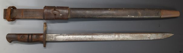 British WW1 Remington 1917 sword bayonet with leather scabbard and frog, G Bussey 1917 to scabbard