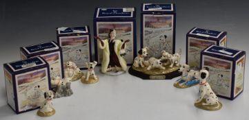 Set of Royal Doulton Walt Disney 101 Dalmatians figures, in boxes