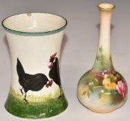 Royal Worcester blush vase with painted roses, H13.5cm, and a Wemyss pottery vase with cockerels,